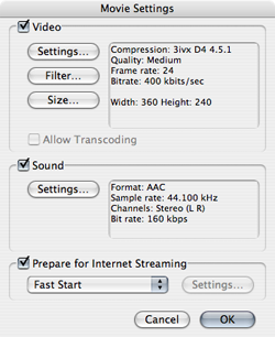 Compressionsettings